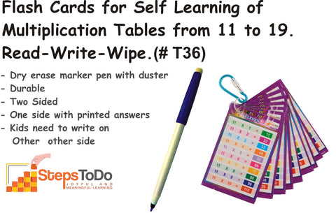 #T36 - Flash Cards for Self Learning of Multiplication Tables from 11 to 19. One Sets of 9 Flash Cards. With Key Chain Ring and Dry Erase Marker Pen. Read-Write-Wipe & Reuse.