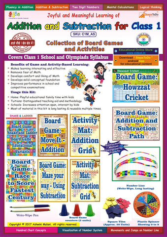 Addition & Subtraction for Class 1. Collection of Board Games & Activities. Premium Educational Kit. Maps to School & Olympiads Syllabus