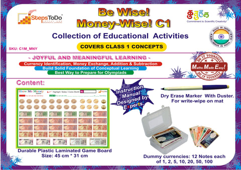 #C1M_MNY - Class 1 Mathematics - Money. Collection of Educational Activities to Learn Money Skills, Currency and Number Operations for Class 1 Kids
