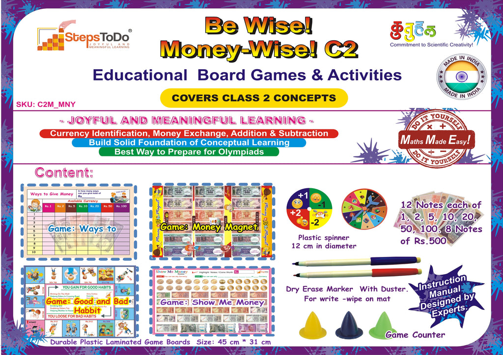 C2M_MNY - Class 2 Mathematics - Money. Collection of Educational Activities to Learn Money Skills, Currency and Number Operations for Class 2 Kids