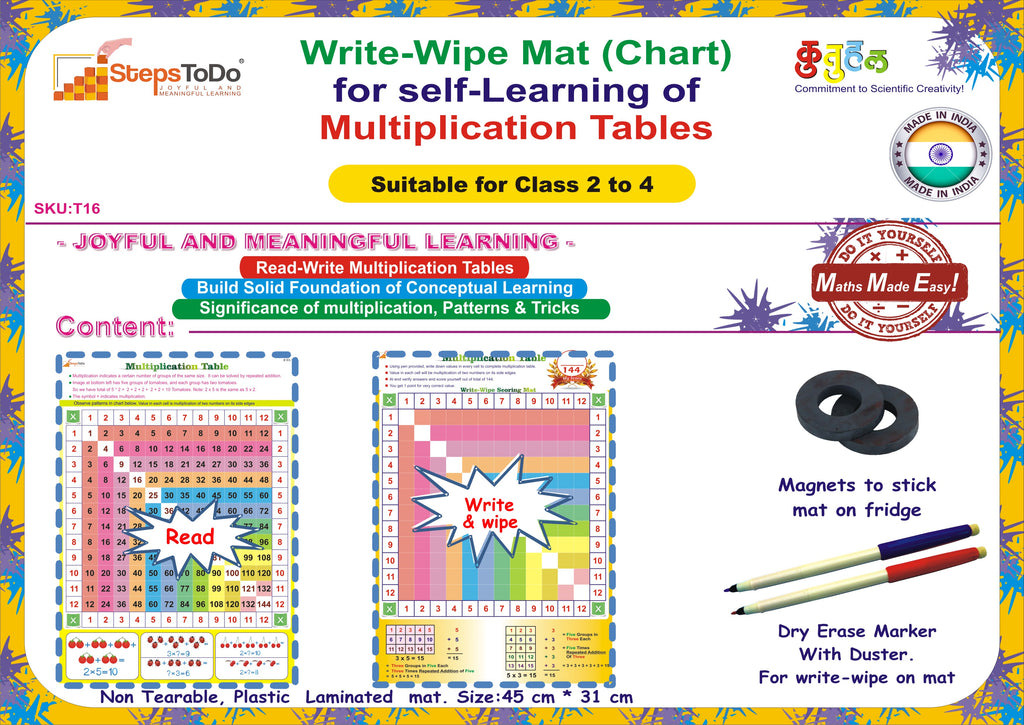 Write Wipe Mat Chart For Self Learning Of Multiplication Tables
