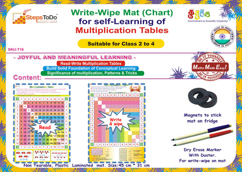 #T16 - Write-Wipe Mat (Chart) for self-Learning of Multiplication Tables (From 1 to 12). Understand Significance & Tricks to Memorize Multiplication Tables.