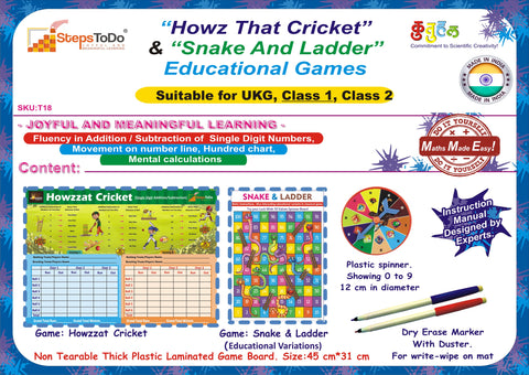 "#T18 - ""Howz That Cricket"" and ""Snake & Ladder"". Set of two Educational Board Games for Learning Single Digit Additions/Subtraction"