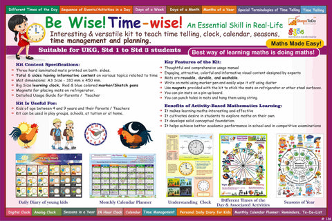 #T137 - Be Wise! Time-wise! Help Your Kids Learn Essential Skills in Real-Life: Clock, Time Telling, Daily Dairy, Planner Monthly Calendar, Seasons. Kit Includes Includes Dummy Clock and much more.
