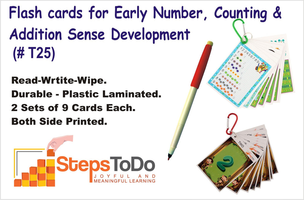 #T25 - Flashcards for Early Number, Counting & Addition Sense Development . Two Sets of 9 Flash Cards Each. With Key Chain Ring and Dry Erase Marker. Read-Write-Wipe & Reuse.