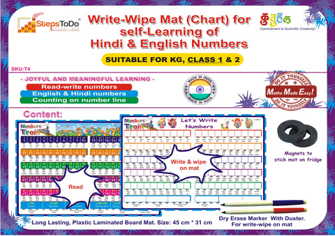 #T4 - Write-Wipe Mat (Chart) for self-Learning of Hindi & English Numbers.  Joyful Way to Encourage & Engage Kids.