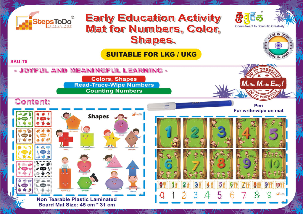 #T5 - Joyful Early Education Activity Mat for Numbers, Color, Shapes. Return Gift. Set of 1 mat, and sketch pen.