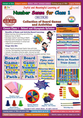Number Sense for Class 1. Collection of Board Games & Activities. Maps to School & Olympiads Syllabus
