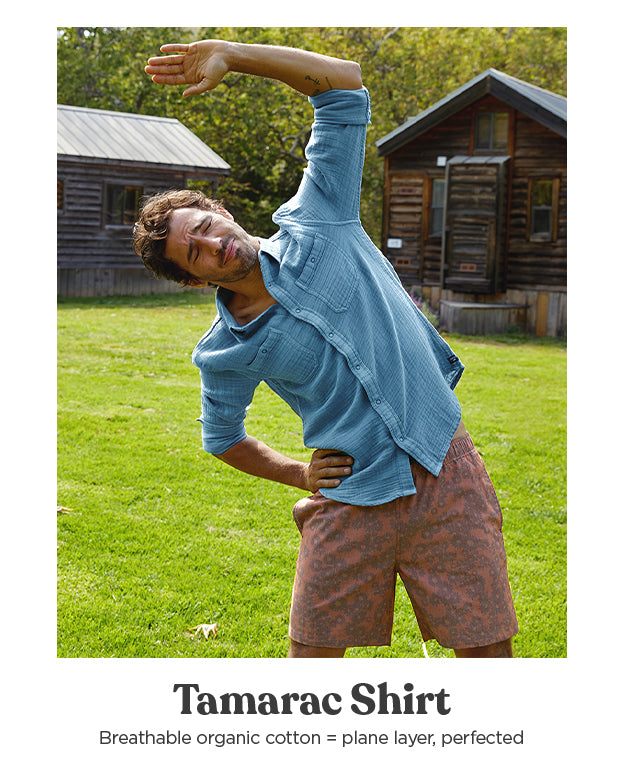 Our Men's Tamarac Shirt is made with breathable organic cotton - great as an airplane layer
