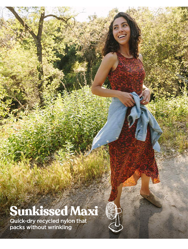Our Sunkissed Maxi is made with quick-dry nylon that packs without wrinkling