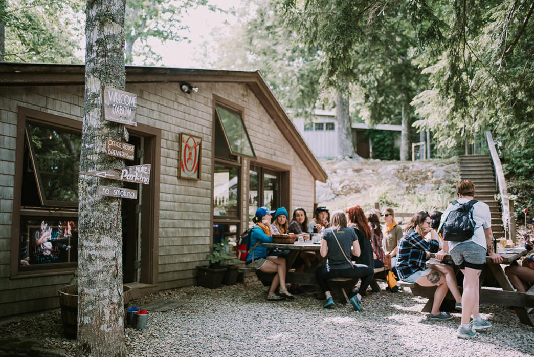The Oxbow Brewery's beautiful rustic farmhouse location, where there's usually a local food truck parked.