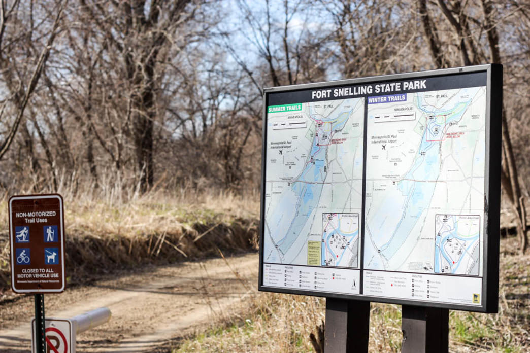 A trailhead in Fort Snelling State Park