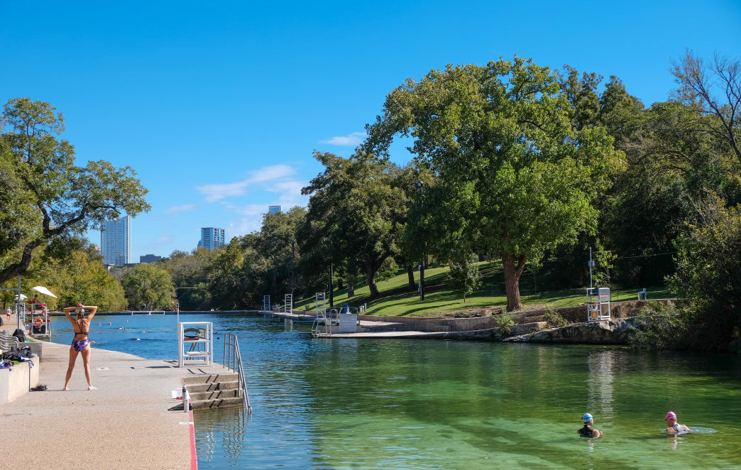 The spring-fed Barton Springs are an Austin hot spot on a warm day.