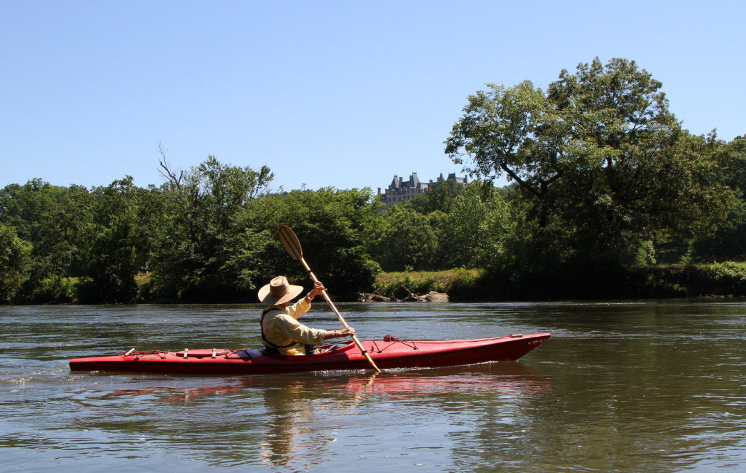 Paddling the French Broad River near the Biltmore.