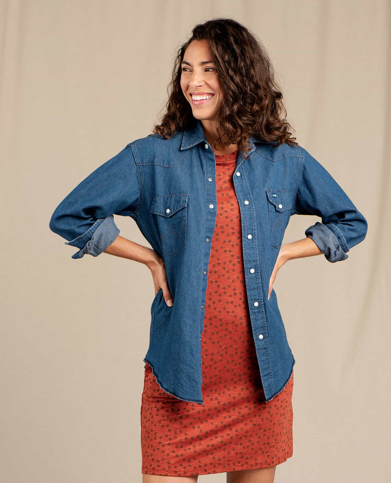 Women's Vintage Denim Western Shirt