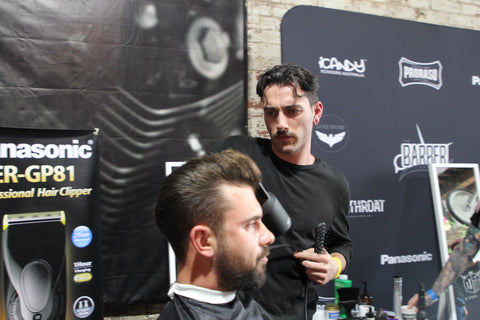Jack Regan competing in the final of the Barber Brands Barber of the year competition