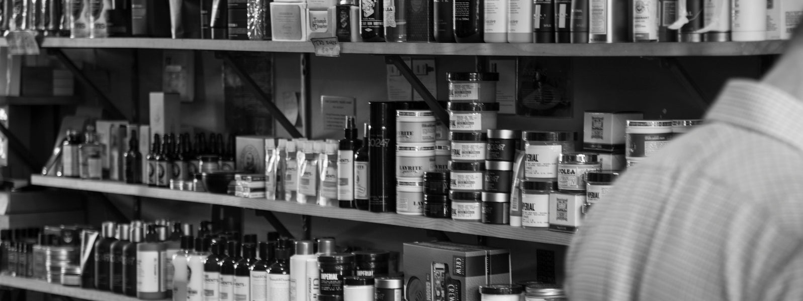 The extensive mens grooming product range available at The Emporium Barber