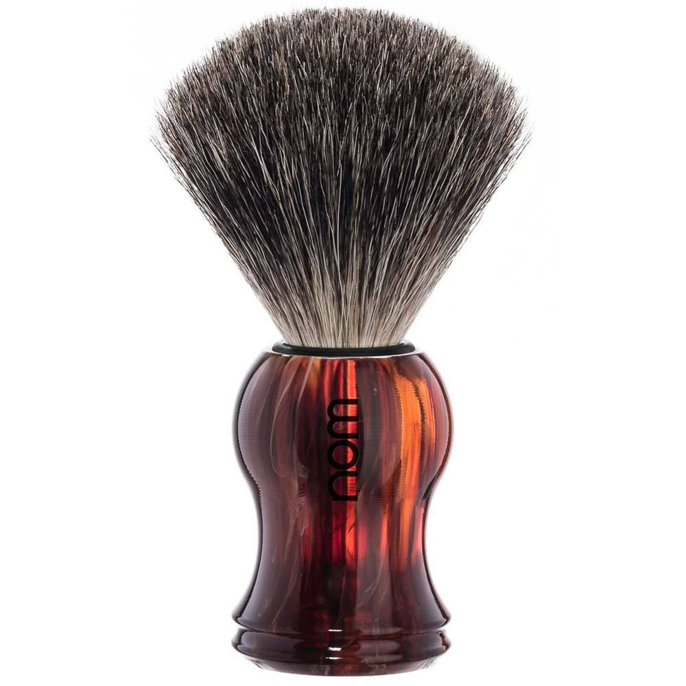 NOM Pure Badger Shaving Brush Faux Tortoiseshell