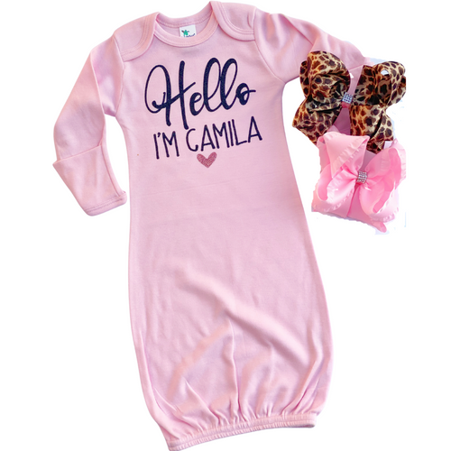 Hello Personalized Baby Bodysuit or Gown