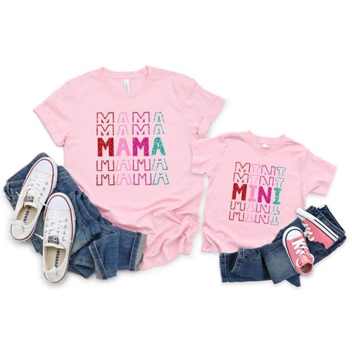 Mama & Mini Matching Valentine Shirts - Stacked Design