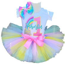 Load image into Gallery viewer, Rainbow Pastel Birthday Set, Pastel Rainbow Tutu Set, Pastel Rainbow 1st Tutu Birthday Outfit