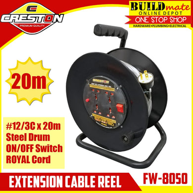 CRESTON Extension Wheel Cable Reel 20M #12/3C FW-8050