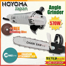 "Load image into Gallery viewer, HOYOMA COMBO Angle Grinder 570W AG9500B + Mailtank Grinder Chainsaw Attachment 11/5"" •BUILDMATE•"