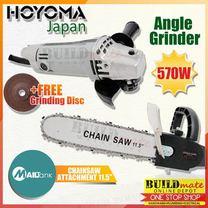 "HOYOMA COMBO Angle Grinder 570W AG9500B + Mailtank Grinder Chainsaw Attachment 11/5"" •BUILDMATE•"