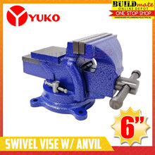 "Load image into Gallery viewer, YUKO Bench Swivel Vise with Anvil 6""  •BUILDMATE•"