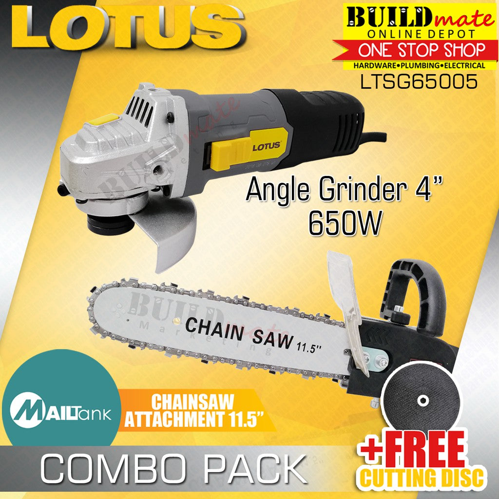 Lotus Angle Grinder LTSG6500S + MAILTANK Chainsaw Attachment Adaptor +FREE DISC
