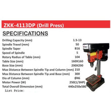 Load image into Gallery viewer, Zekoki 5 Speed Drill Press 1.5-13mm ZKK-4113DP •BUILDMATE•