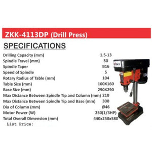 Zekoki 5 Speed Drill Press 1.5-13mm ZKK-4113DP •BUILDMATE•