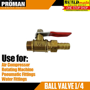 PROMAN Ball Valve Brass 1/4""