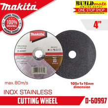 "Load image into Gallery viewer, MAKITA Cutting Disc Wheel INOX For Stainless 4"" SUPERTHIN D60997 •BUILDMATE•"