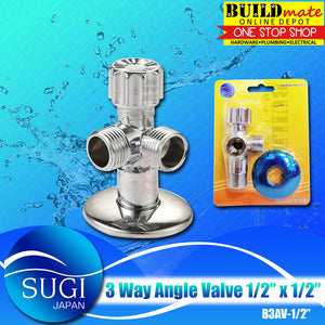 "SUGI JAPAN 3 Way Angle Valve 1/2"" x 1/2"" B3AV-1/2"" •BUILDMATE•"