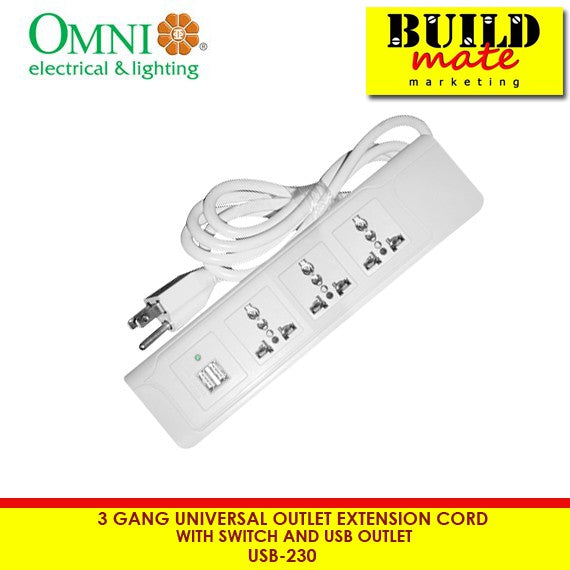 Omni 3Gang Universal Extension Cord W/ Switch and USB Outlet USB-230
