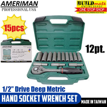 "Load image into Gallery viewer, Ameriman 1/2"" Drive Deep Metric Hand Socket Wrench 15PCS/SET"