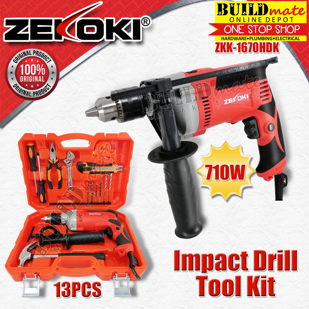 ZEKOKI 16mm Impact Drill 710W 13PCS Tool Kit ZKK-1670HDK •BUILDMATE•