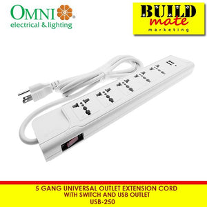 Omni 5g Universal Extension Cord w/Switch& USB Outlet USB250