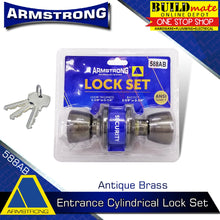 Load image into Gallery viewer, ARMSTRONG Antique Brass Entrance Cylindrical Door Knob Lock Set 588AB