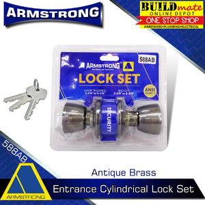 ARMSTRONG Antique Brass Entrance Cylindrical Door Knob Lock Set 588AB