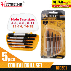 Hoteche Conical Drill Screw Extractor 5PCS/SET 610201 •BUILDMATE•