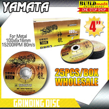 "Load image into Gallery viewer, YAMATA (25PCS) Grinding Disc 4"" for Metal 100 x 6 x 16mm •BUILDMATE•"