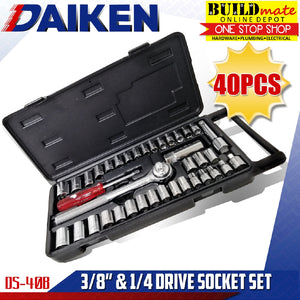 "Daiken 3/8"" & 1/4"" Drive Socket 40PCS/SET DS40B •BUILDMATE•"