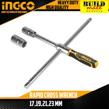 "Load image into Gallery viewer, INGCO Tire Rapid Cross Wrench (16"") 17,19,21,23mm HRCW40231"