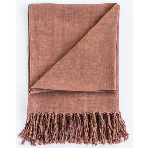 Luca Linen Throw with Tassles180x140cm Desert Rose - Maissone
