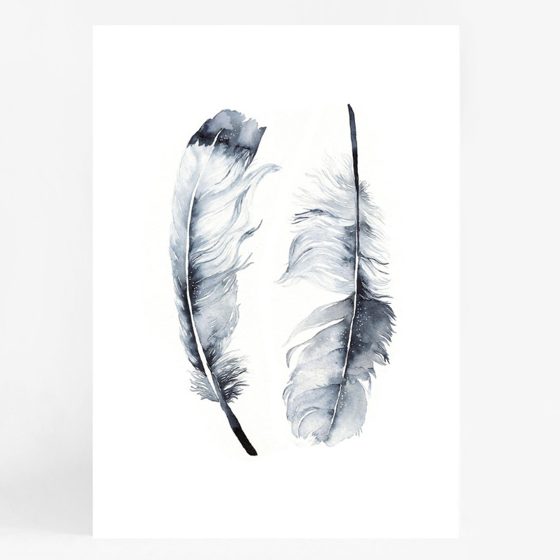Twin Feathers A3
