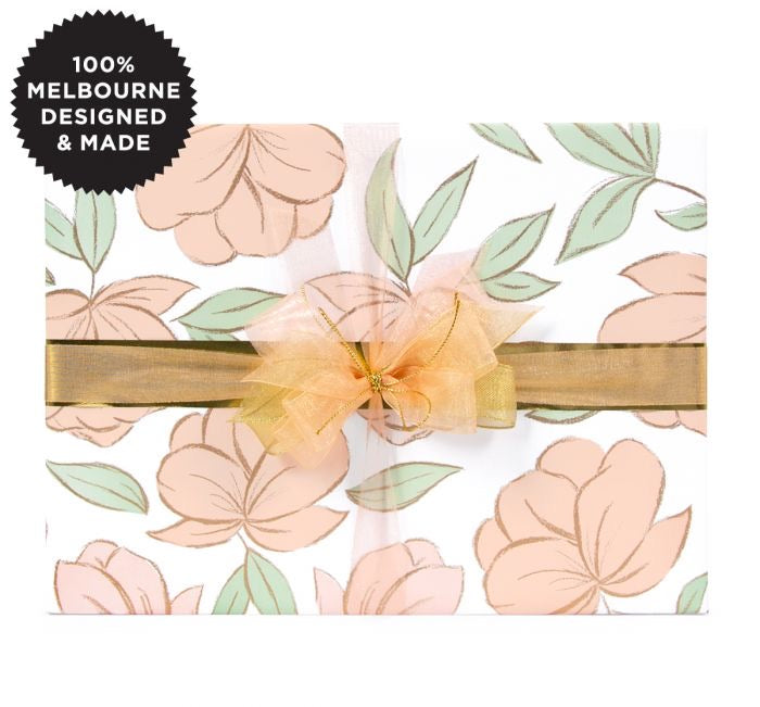 Charcoal Flowers Nude. - Gift Wrap Roll