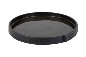 Burlap Round Tray Small Black