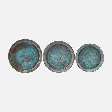 Tray Set of 3 Green Metal Mini Trays
